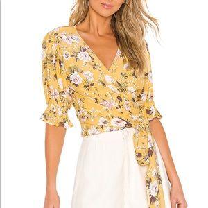 Faithfull the Brand Mali Wrap Top Yellow Floral